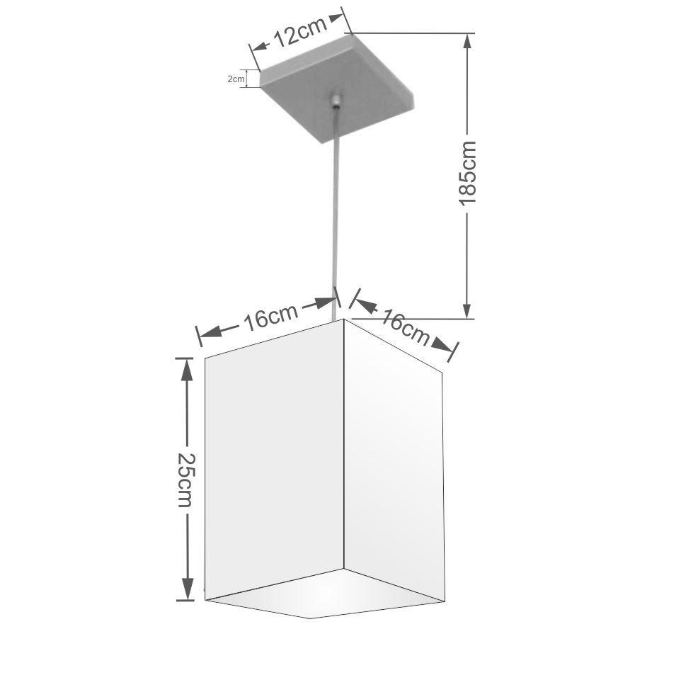 Lustre Pendente Quadrado Md-4007 Cúpula em Tecido 25/16x16cm Branco - Bivolt