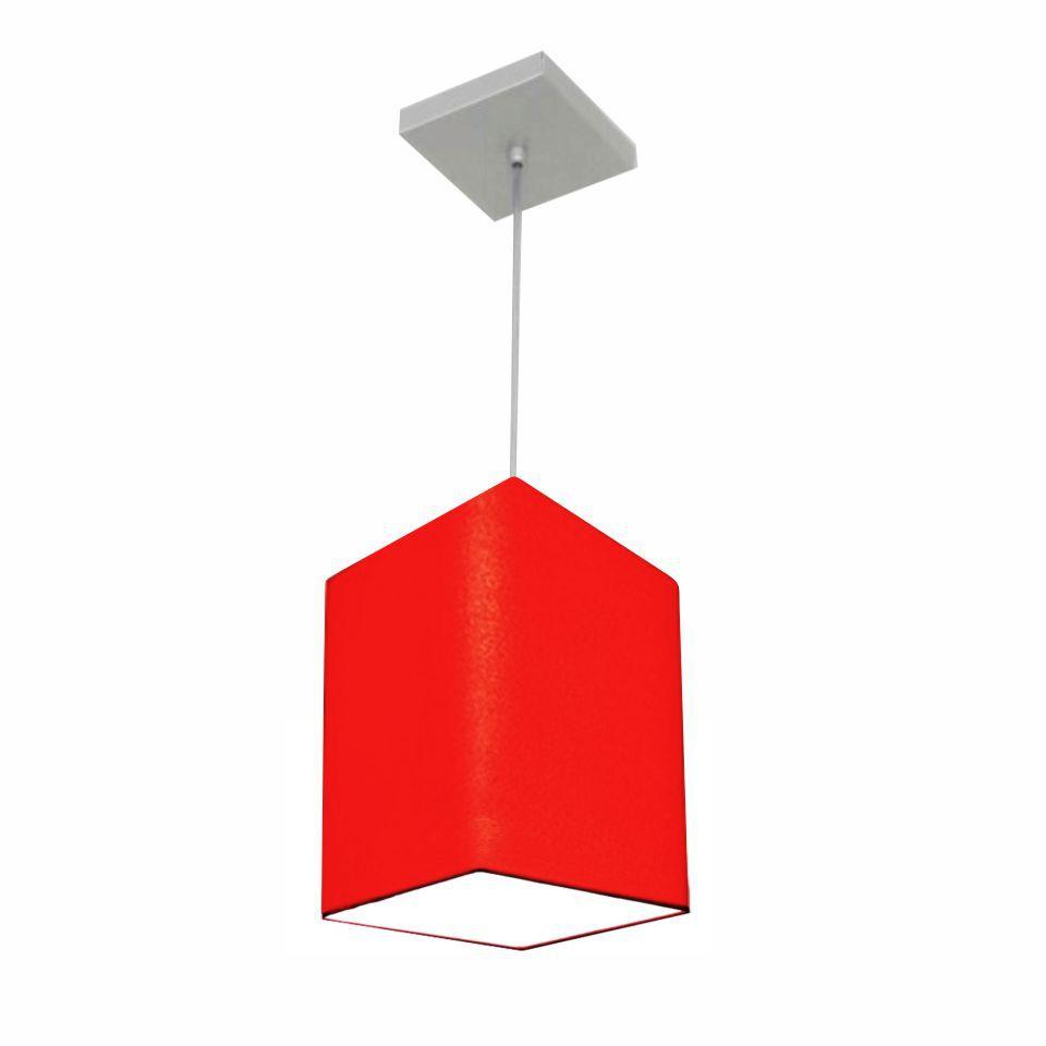Lustre Pendente Quadrado Md-4007 Cúpula em Tecido 25/16x16cm Vermelho - Bivolt
