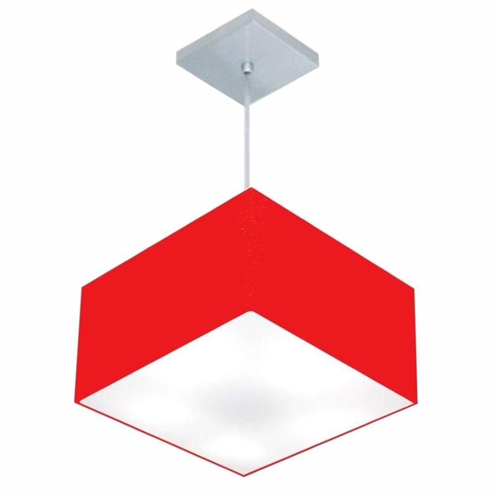 Lustre Pendente Quadrado Md-4020 Cúpula em Tecido 21/35x35cm Vermelho - Bivolt