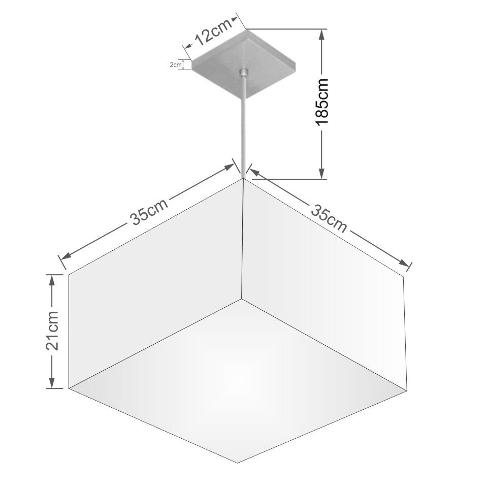 Lustre Pendente Quadrado Md-4020 Cúpula em Tecido 21/35x35cm Algodão Crú - Bivolt