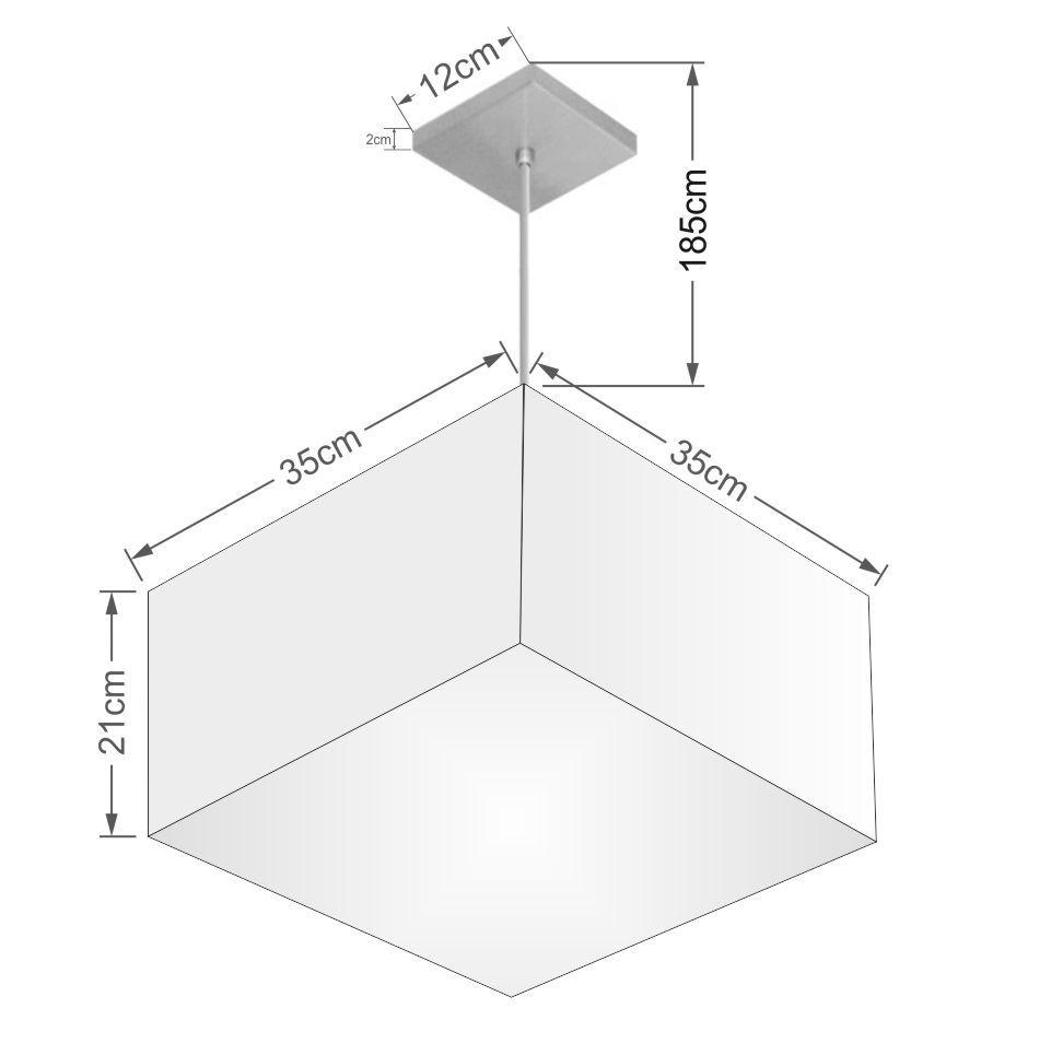 Lustre Pendente Quadrado Md-4020 Cúpula em Tecido 21/35x35cm Branco - Bivolt