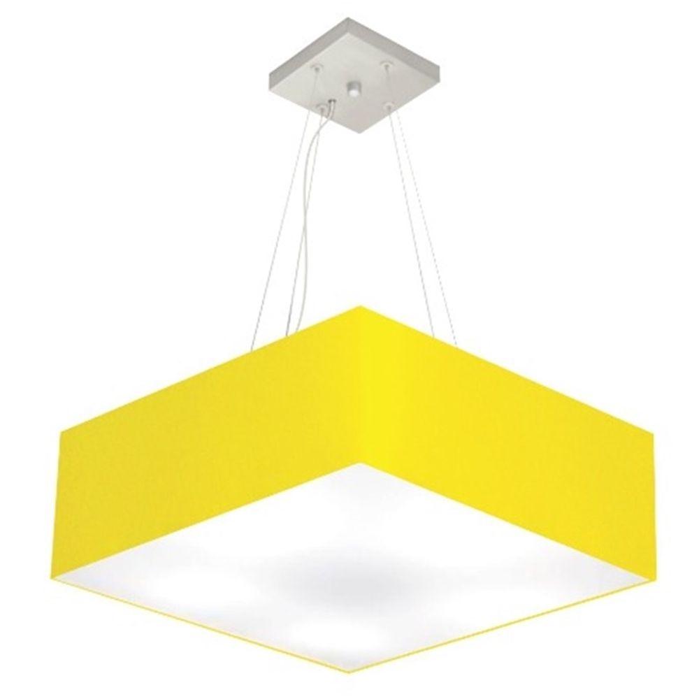 Lustre Pendente Quadrado Md-4032 Cúpula em Tecido 15/50x50cm Amarelo - Bivolt