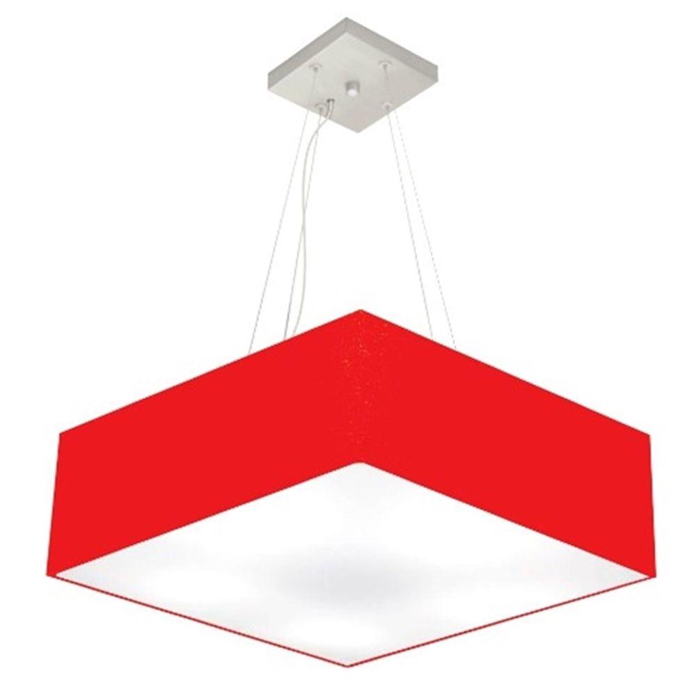 Lustre Pendente Quadrado Md-4032 Cúpula em Tecido 15/50x50cm Vermelho - Bivolt