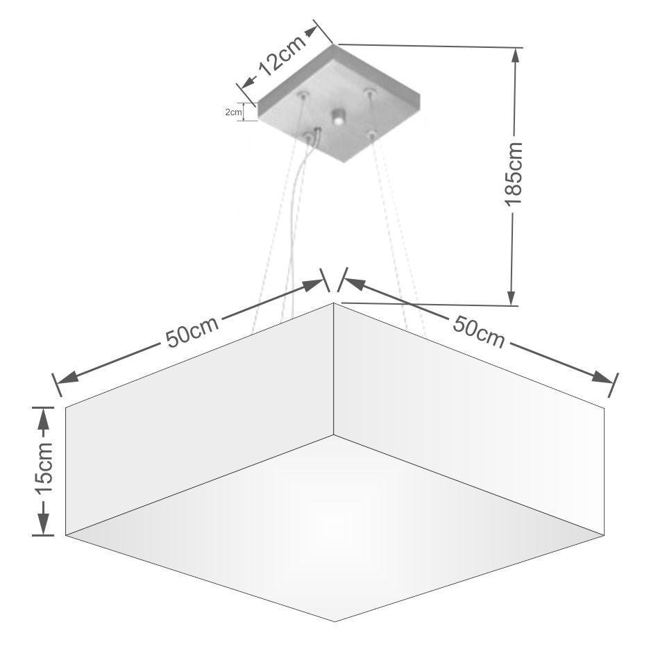 Lustre Pendente Quadrado Md-4032 Cúpula em Tecido 15/50x50cm Branco - Bivolt