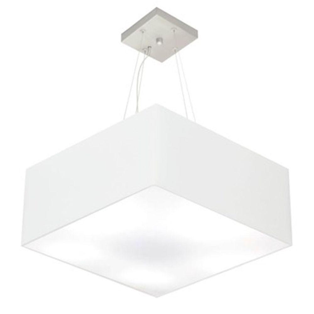 Lustre Pendente Quadrado Md-4040 Cúpula em Tecido 21/50x50cm Branco - Bivolt