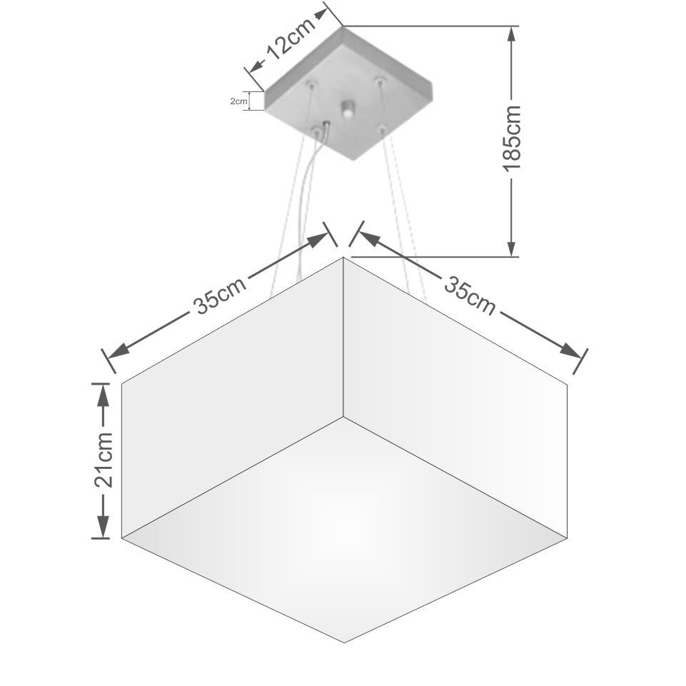 Lustre Pendente Quadrado Md-4041 Cúpula em Tecido 21/35x35cm Algodão Crú - Bivolt
