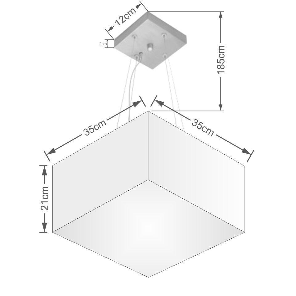 Lustre Pendente Quadrado Md-4041 Cúpula em Tecido 21/35x35cm Branco - Bivolt