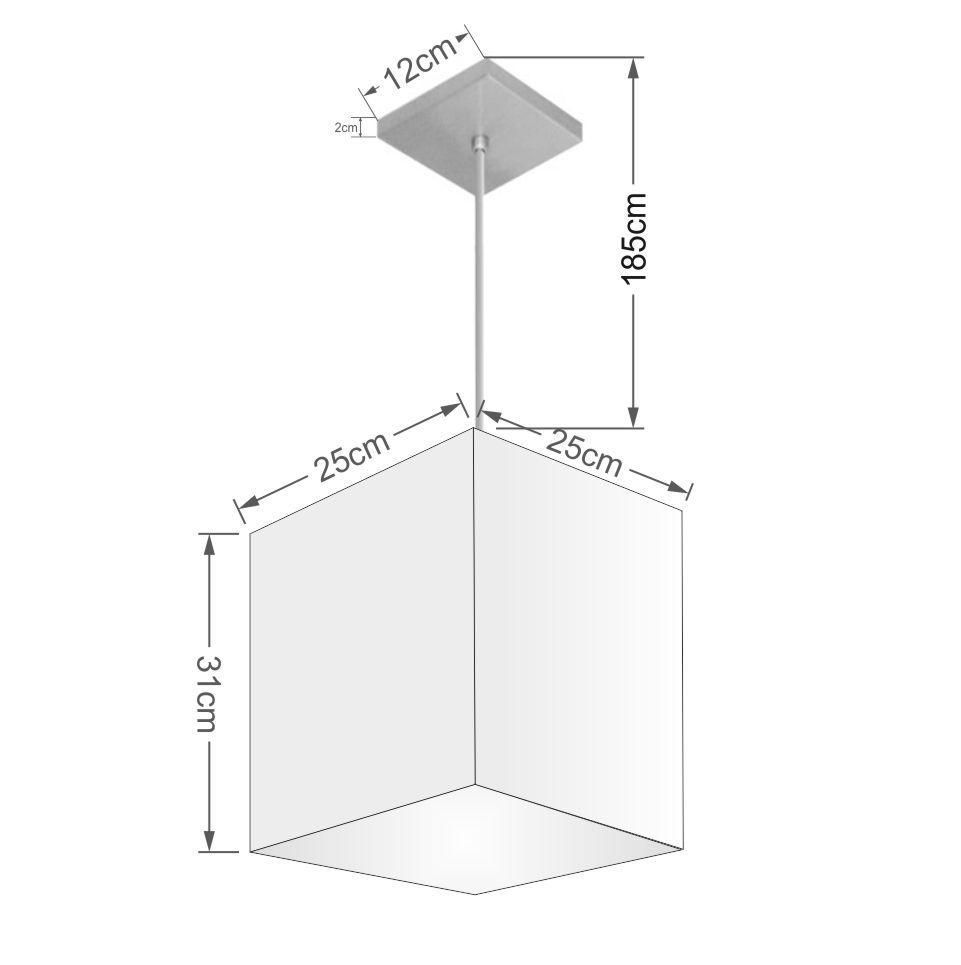 Lustre Pendente Quadrado Md-4051 Cúpula em Tecido 31/25x25cm Amarelo - Bivolt
