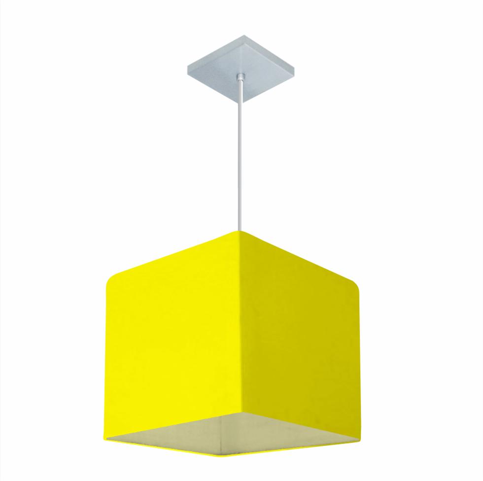 Lustre Pendente Quadrado Md-4058 Cúpula em Tecido 21/25x25cm Amarelo - Bivolt