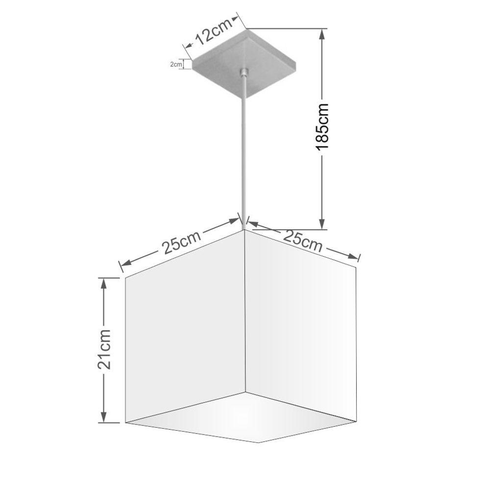 Lustre Pendente Quadrado Md-4058 Cúpula em Tecido 21/25x25cm Bordo - Bivolt