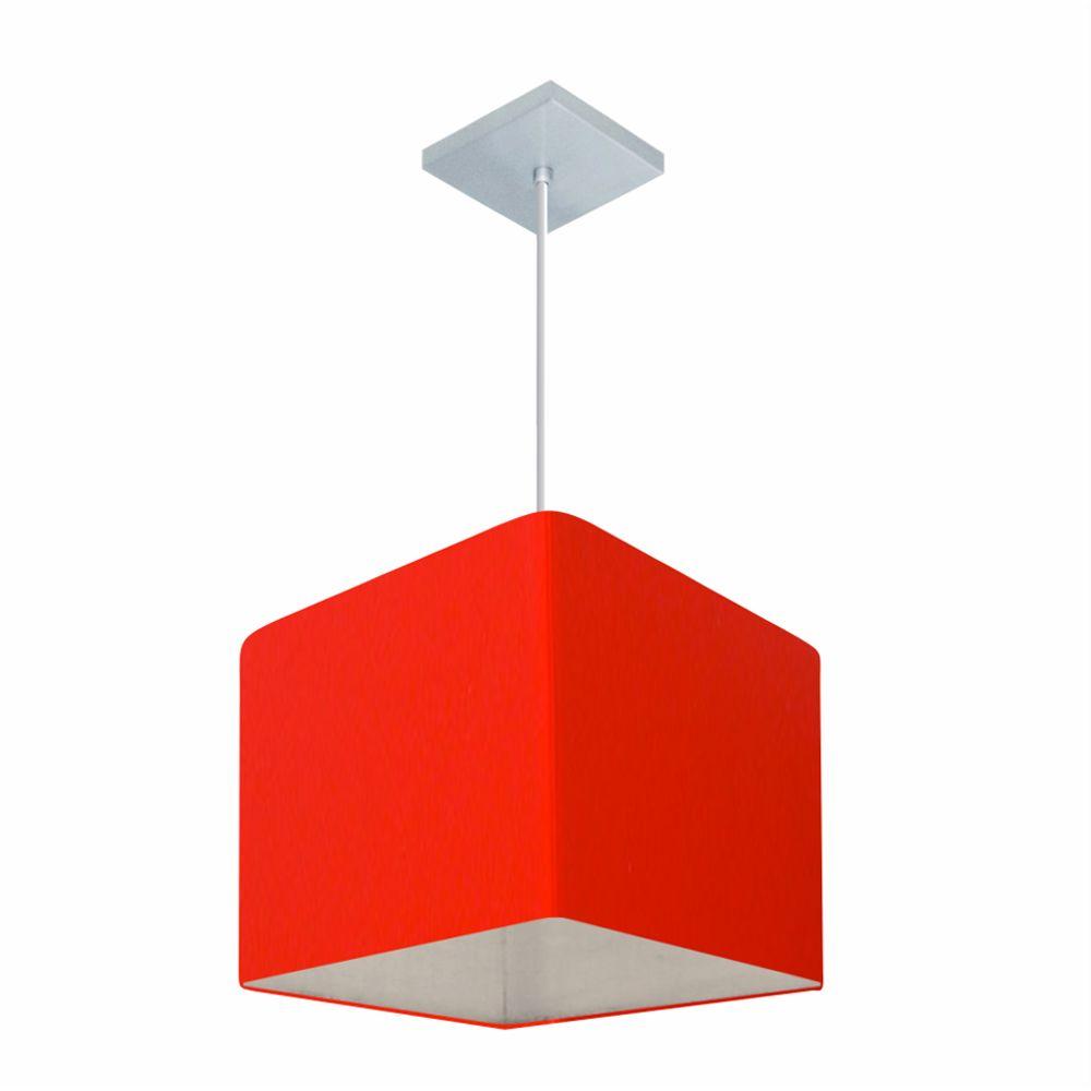 Lustre Pendente Quadrado Md-4058 Cúpula em Tecido 21/25x25cm Vermelho - Bivolt