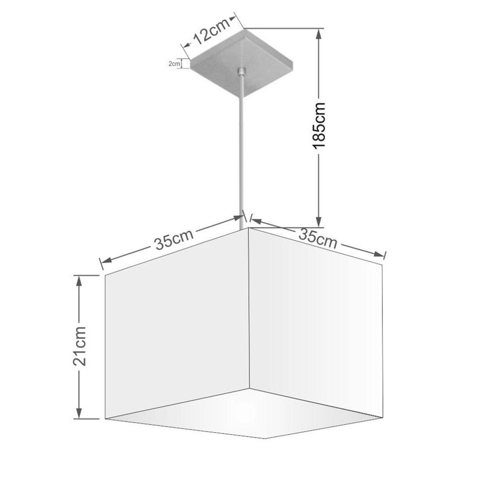 Lustre Pendente Quadrado Md-4059 Cúpula em Tecido 21/35x35cm Bordo - Bivolt