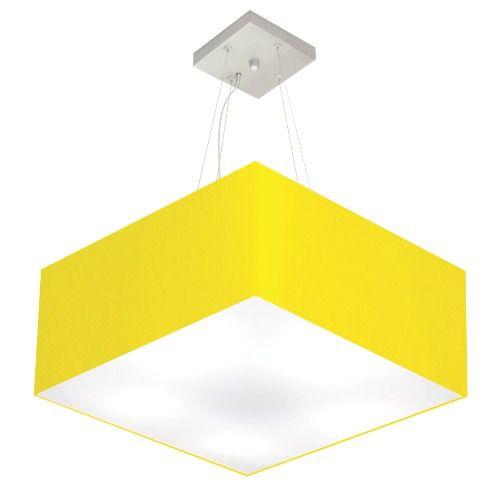 Lustre Pendente Quadrado Md-4065 Cúpula em Tecido 30/70x70cm Amarelo - Bivolt
