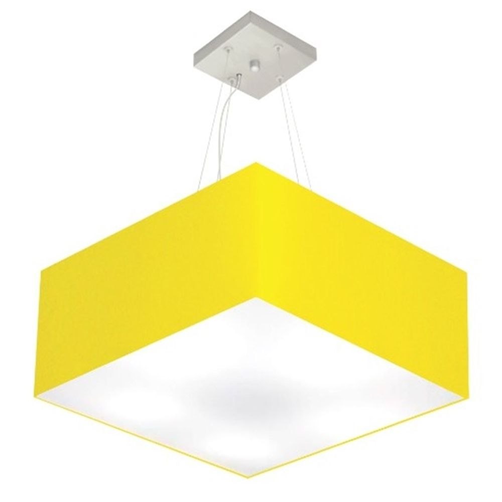 Lustre Pendente Quadrado Md-4071 Cúpula em Tecido 30/70x70cm Amarelo - Bivolt