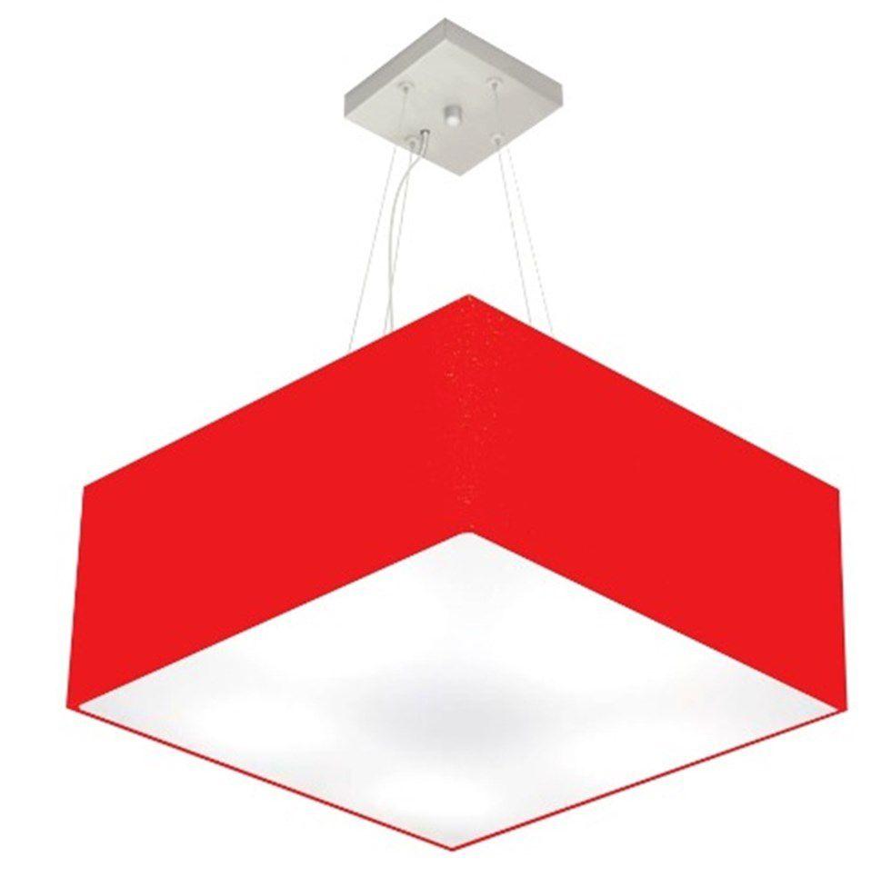 Lustre Pendente Quadrado Md-4071 Cúpula em Tecido 30/70x70cm Vermelho - Bivolt