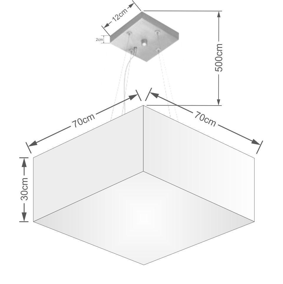 Lustre Pendente Quadrado Md-4071 Cúpula em Tecido 30/70x70cm Algodão Crú - Bivolt