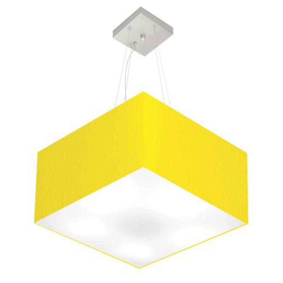 Lustre Pendente Quadrado Md-4075 Cúpula em Tecido 30/50x50cm Amarelo - Bivolt