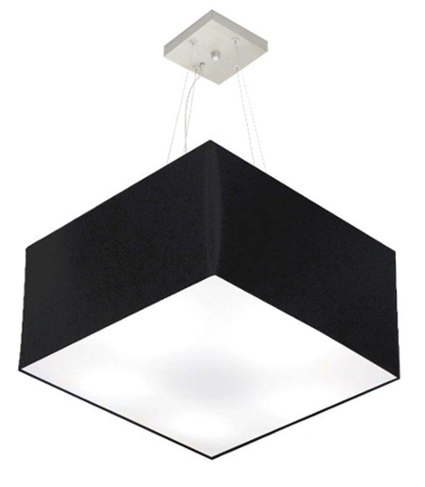 Lustre Pendente Quadrado Md-4075 Cúpula em Tecido 30/50x50cm Preto - Bivolt