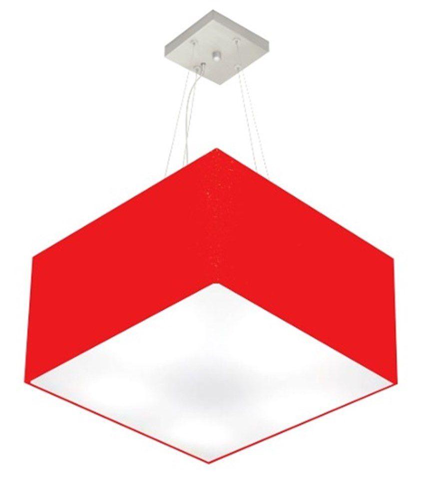 Lustre Pendente Quadrado Md-4075 Cúpula em Tecido 30/50x50cm Vermelho - Bivolt