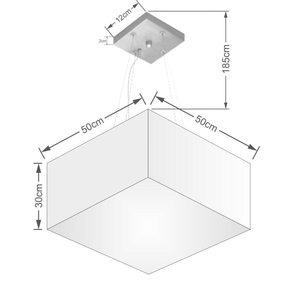 Lustre Pendente Quadrado Md-4075 Cúpula em Tecido 30/50x50cm Linho Bege - Bivolt