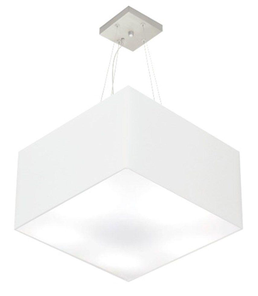 Lustre Pendente Quadrado Md-4077 Cúpula em Tecido 30/50x50cm Branco - Bivolt
