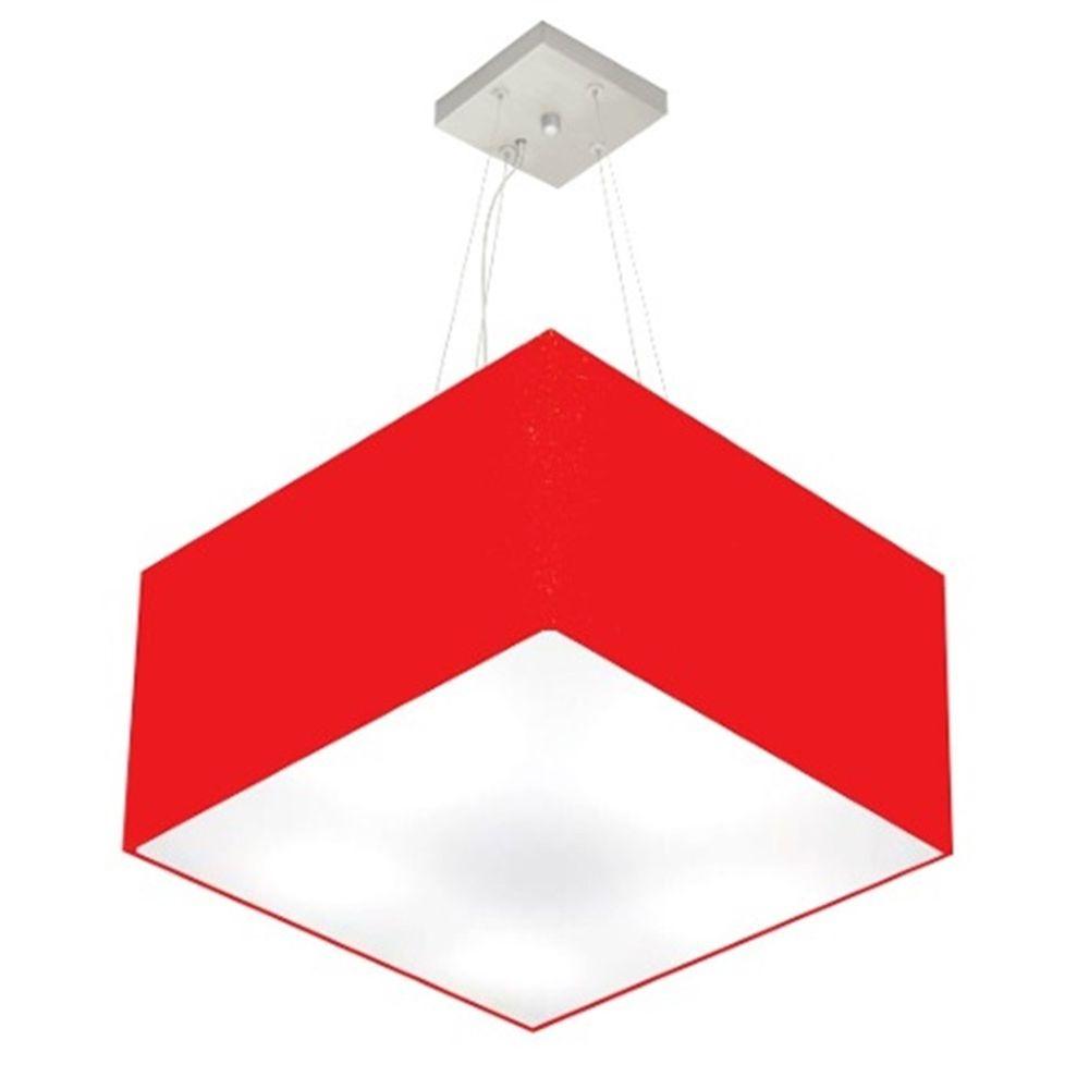 Lustre Pendente Quadrado Md-4077 Cúpula em Tecido 30/50x50cm Vermelho - Bivolt