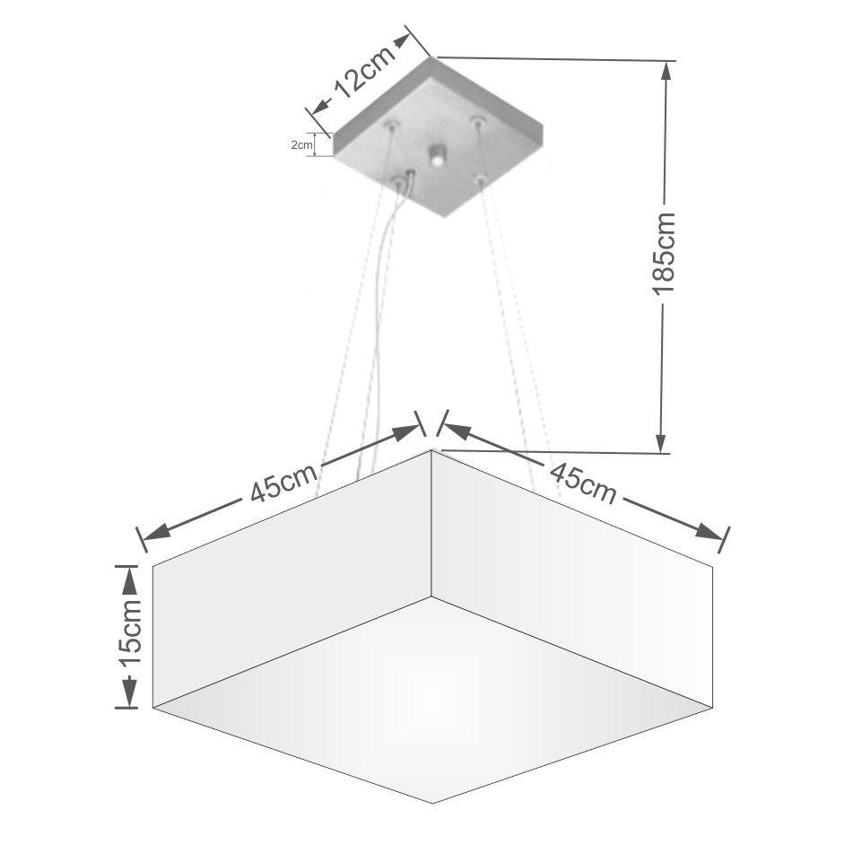 Lustre Pendente Quadrado Md-4196 Cúpula em Tecido 15/45x45cm Rustico Bege - Bivolt