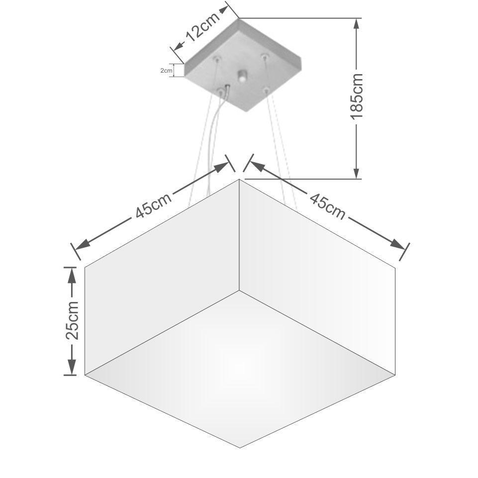 Lustre Pendente Quadrado Md-4197 Cúpula em Tecido 25/45x45cm Branco - Bivolt