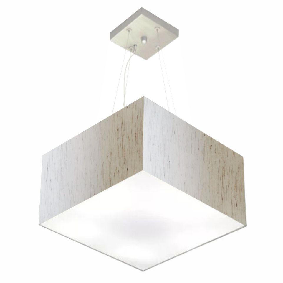 Lustre Pendente Quadrado Md-4197 Cúpula em Tecido 25/45x45cm Linho Bege - Bivolt