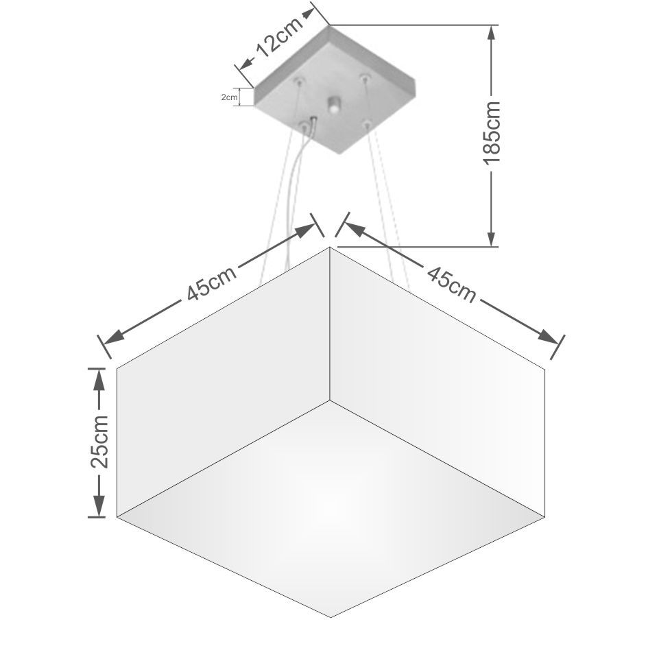Lustre Pendente Quadrado Md-4197 Cúpula em Tecido 25/45x45cm Preto - Bivolt