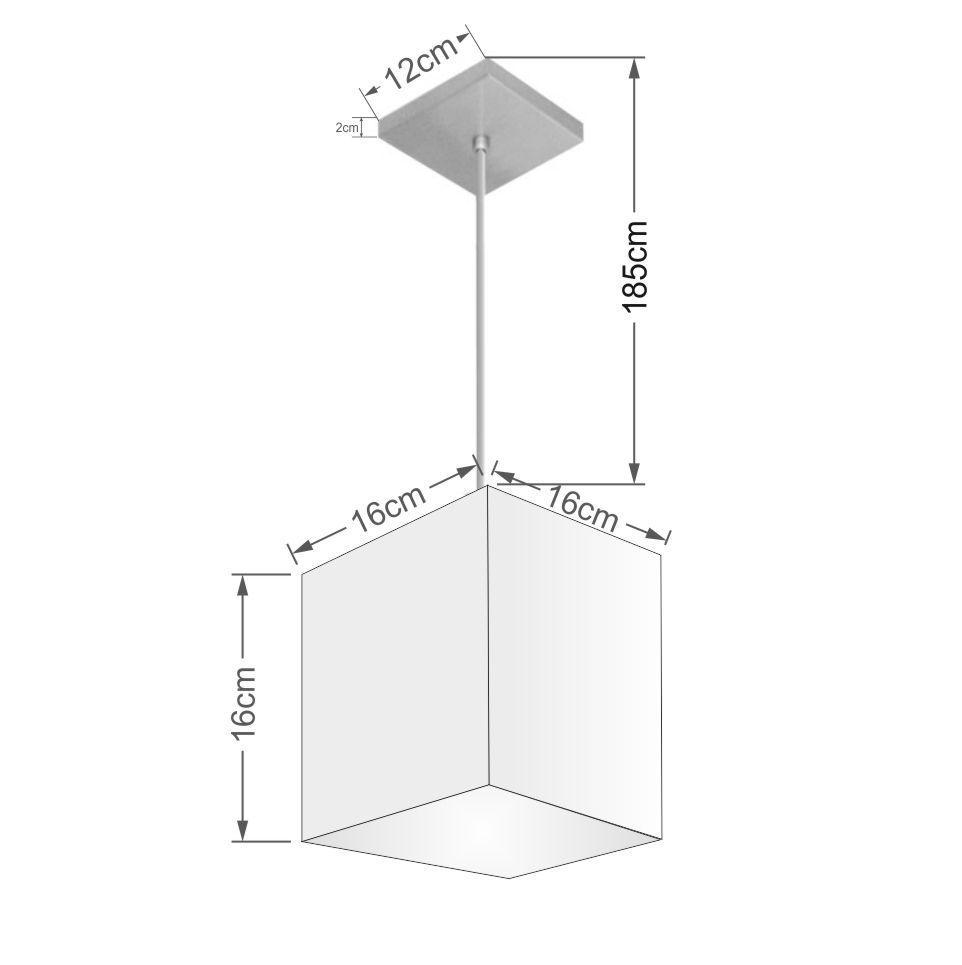 Lustre Pendente Quadrado Md-4224 Cúpula em Tecido 16/16x16cm Algodão Crú - Bivolt