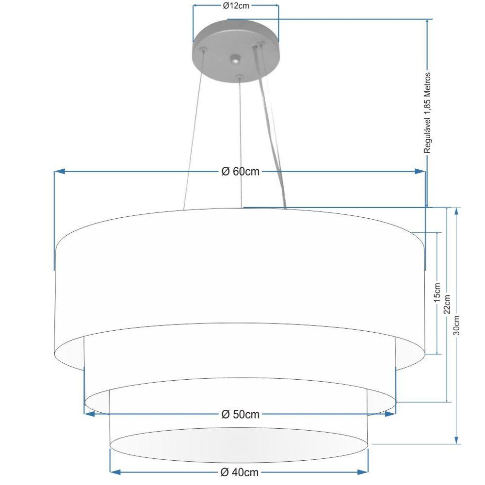 Lustre Pendente Triplo Cilíndrico Md-4148 Cúpulas Tecido 60x50x40cm Rustico Bege - Bivolt