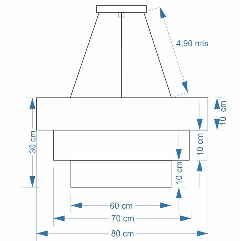 Lustre Pendente Triplo Quadrado Md-4165 Cúpula em Tecido 80x70x60cm Algodão Crú - Bivolt