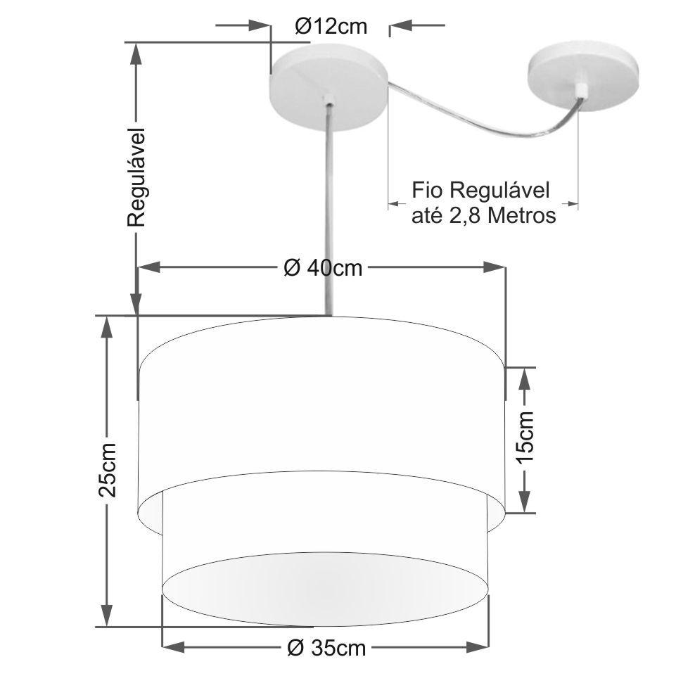 Pendente Duplo Cilíndrico Com Desvio de Centro Vivare Md-4359 Cúpula em Tecido 40x35cm - Bivolt