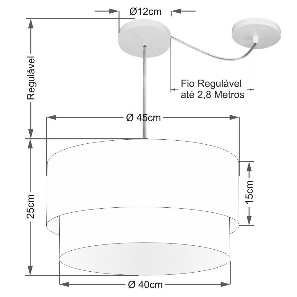Pendente Duplo Cilíndrico Com Desvio de Centro Vivare Md-4360 Cúpula em Tecido 45x40cm - Bivolt