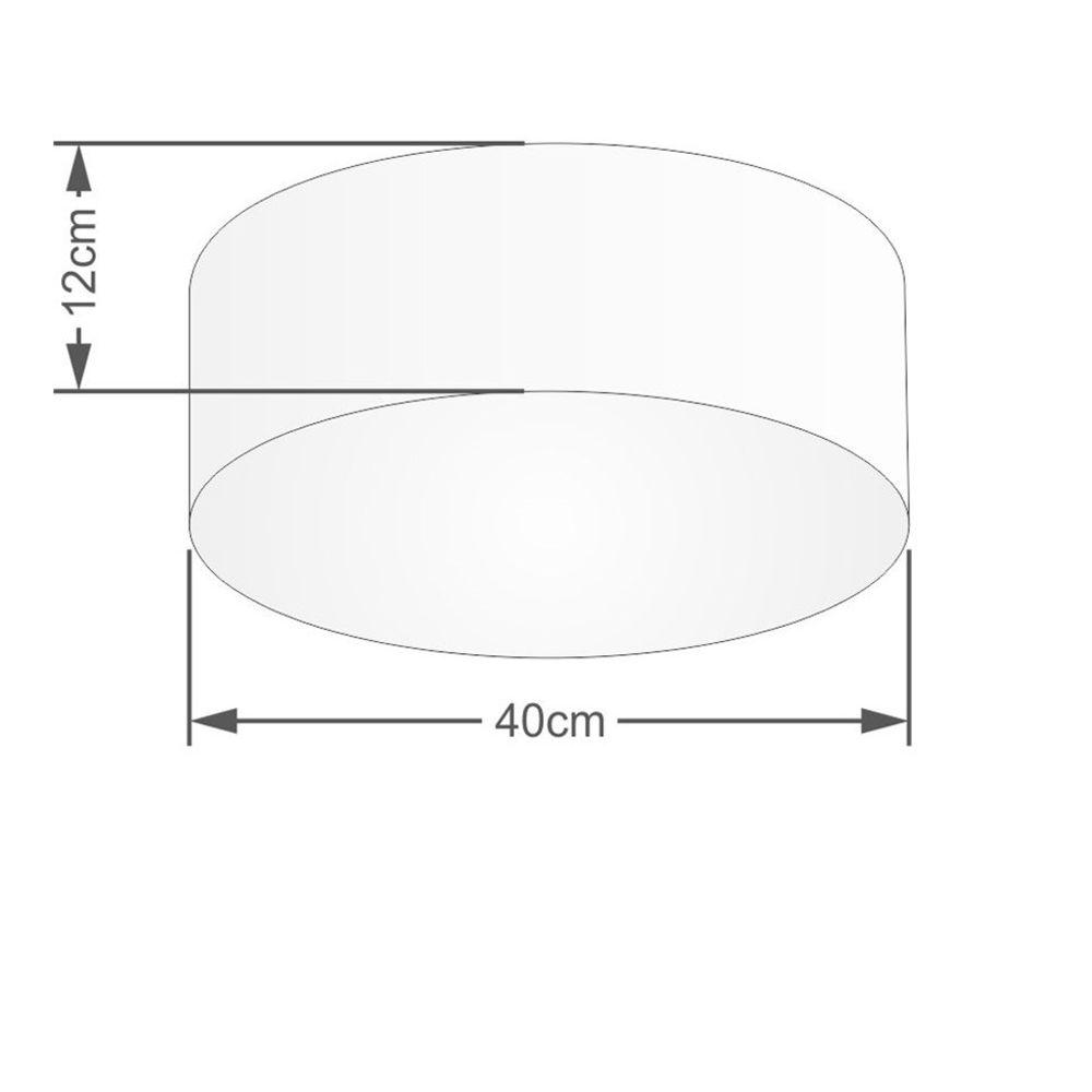 Plafon Cilíndrico Md-3005 Cúpula em Tecido 40x12cm Rosa Bebê - Bivolt