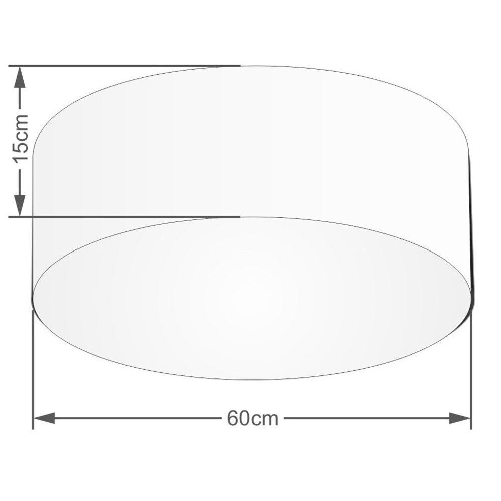 Plafon Cilíndrico Md-3006 Cúpula em Tecido 60x15cm Vermelho - Bivolt