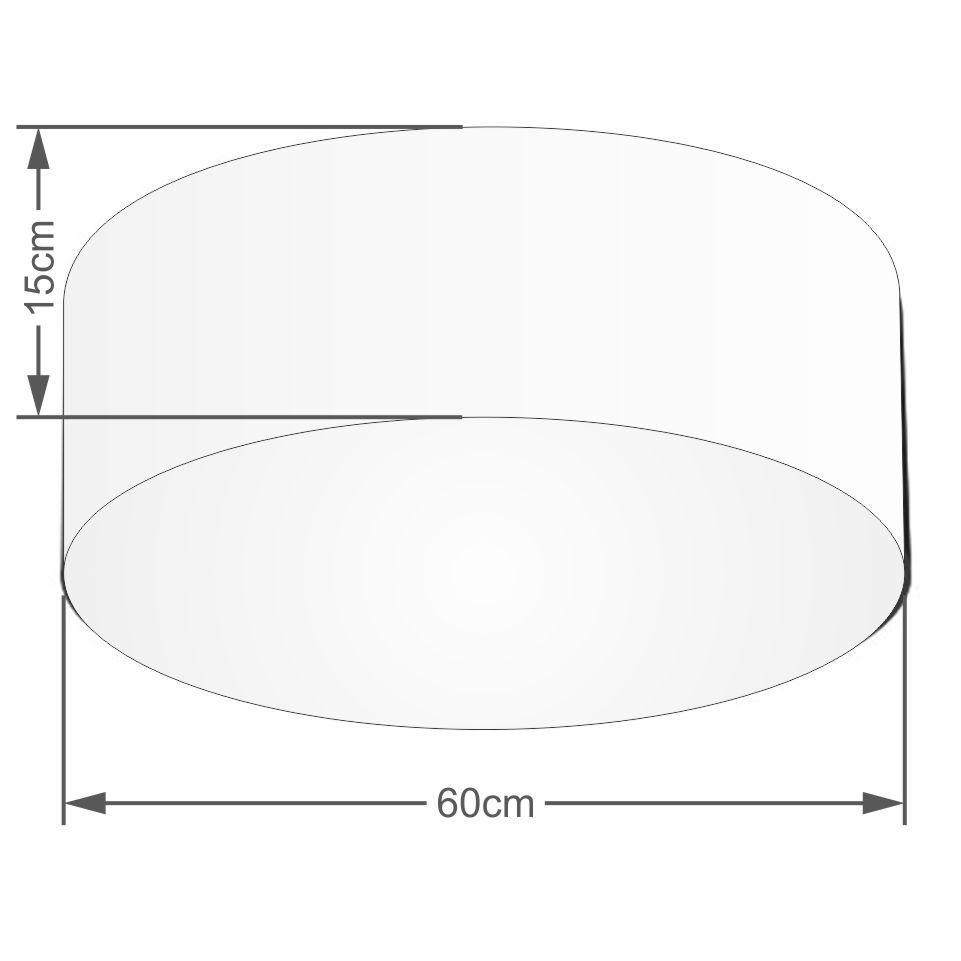 Plafon Cilíndrico Md-3006 Cúpula em Tecido 60x15cm Algodão Crú - Bivolt