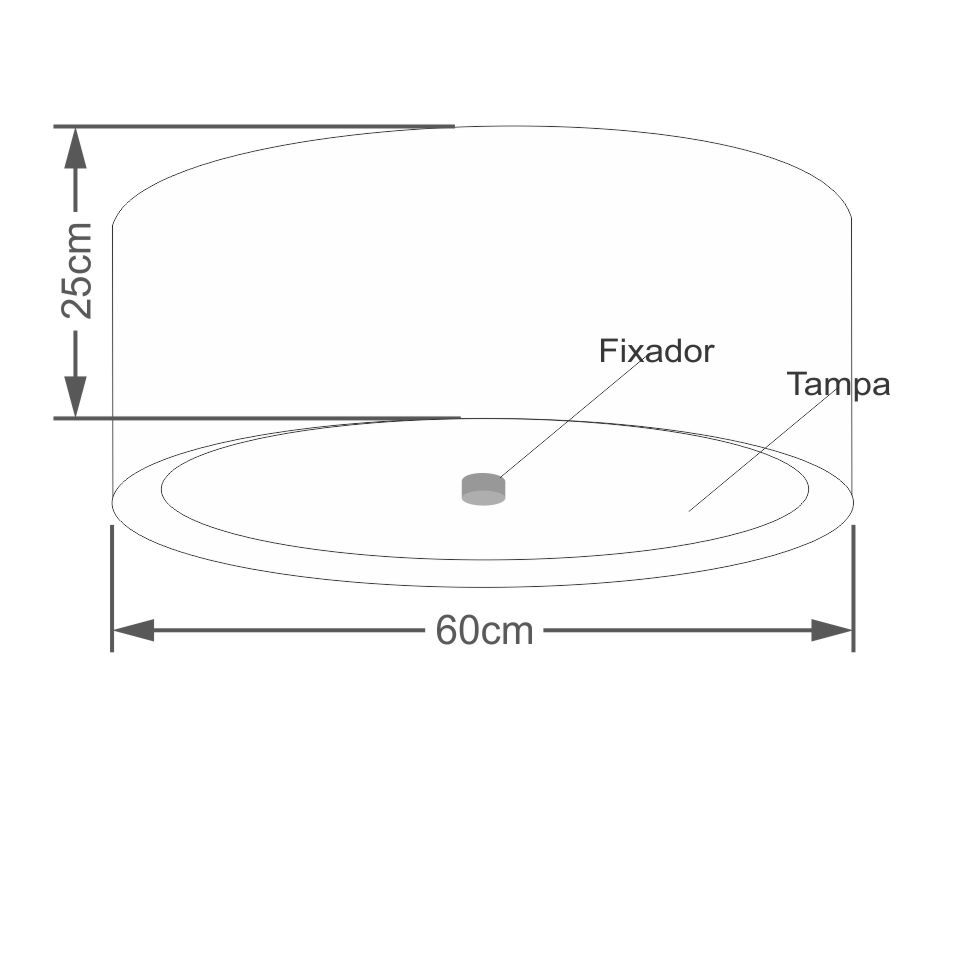 Plafon Cilíndrico Md-3008 Cúpula em Duplo Tecido 60x25cm Preto / Branco - Bivolt