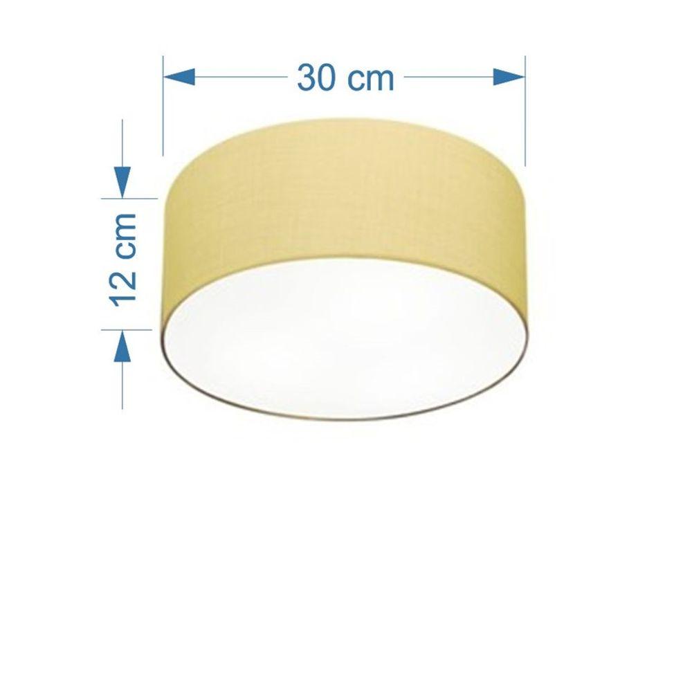Plafon Cilíndrico Md-3010 Cúpula em Tecido 30x12cm Algodão Crú - Bivolt