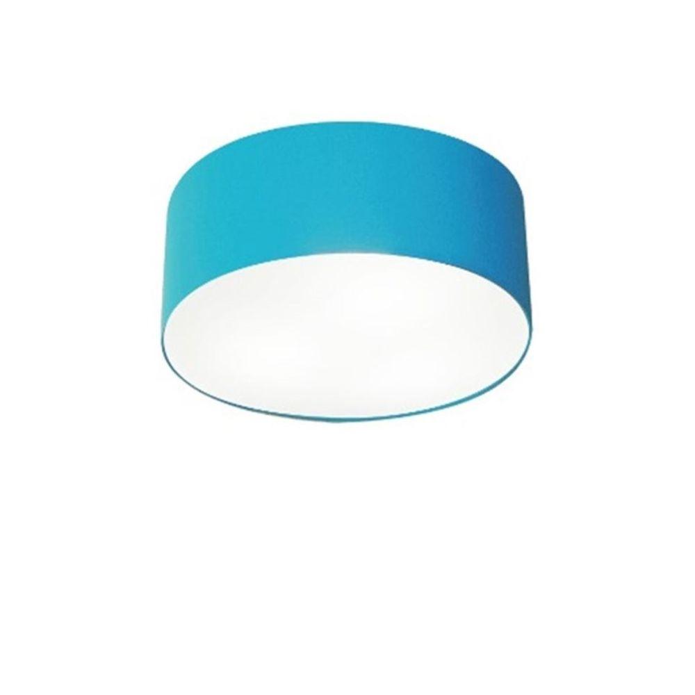 Plafon Cilíndrico Md-3010 Cúpula em Tecido 30x12cm Azul Turquesa - Bivolt