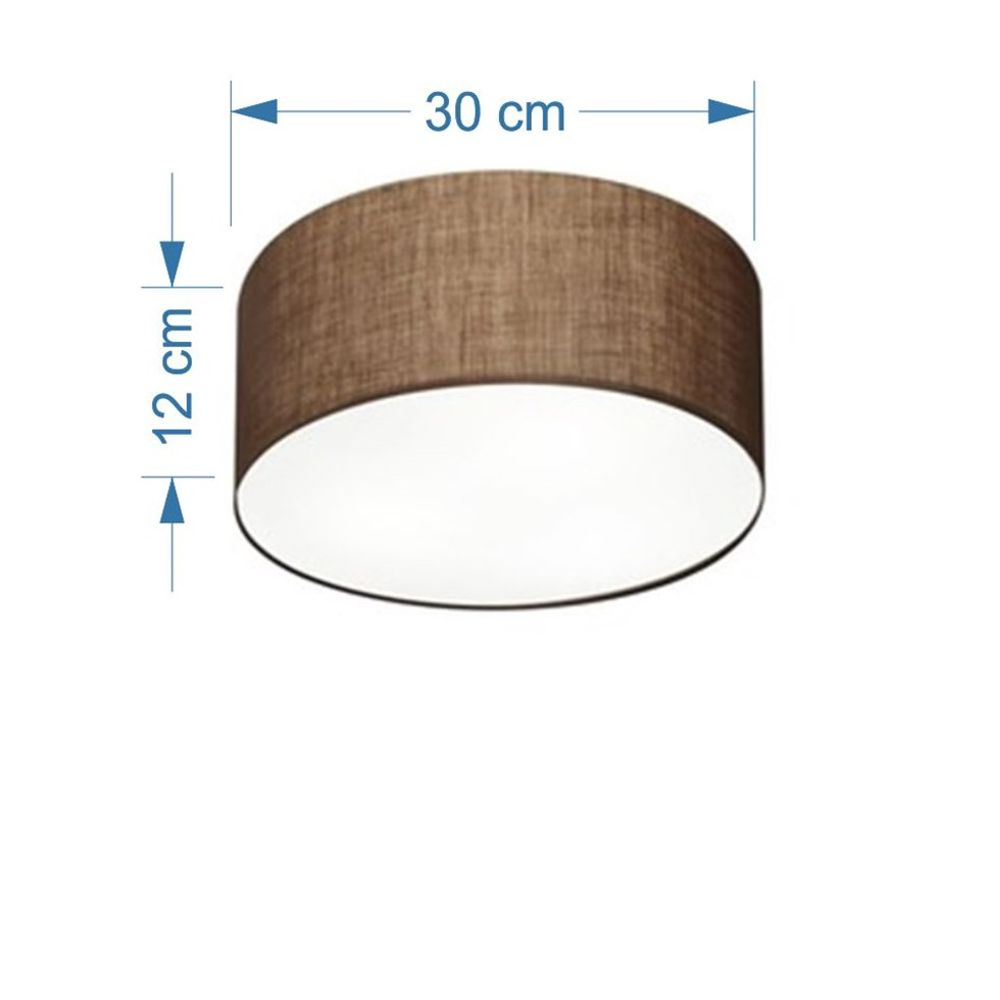 Plafon Cilíndrico Md-3010 Cúpula em Tecido 30x12cm Café - Bivolt