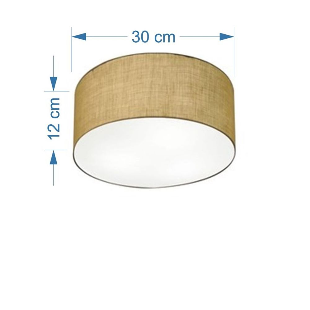 Plafon Cilíndrico Md-3010 Cúpula em Tecido 30x12cm Palha - Bivolt