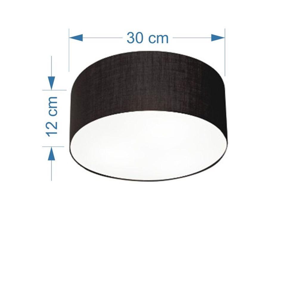 Plafon Cilíndrico Md-3010 Cúpula em Tecido 30x12cm Preto - Bivolt