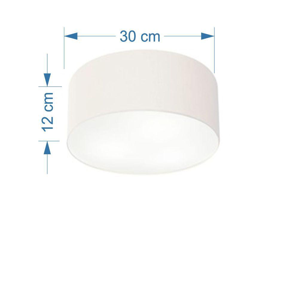 Plafon Cilíndrico Md-3010 Cúpula em Tecido 30x12cm Branco - Bivolt