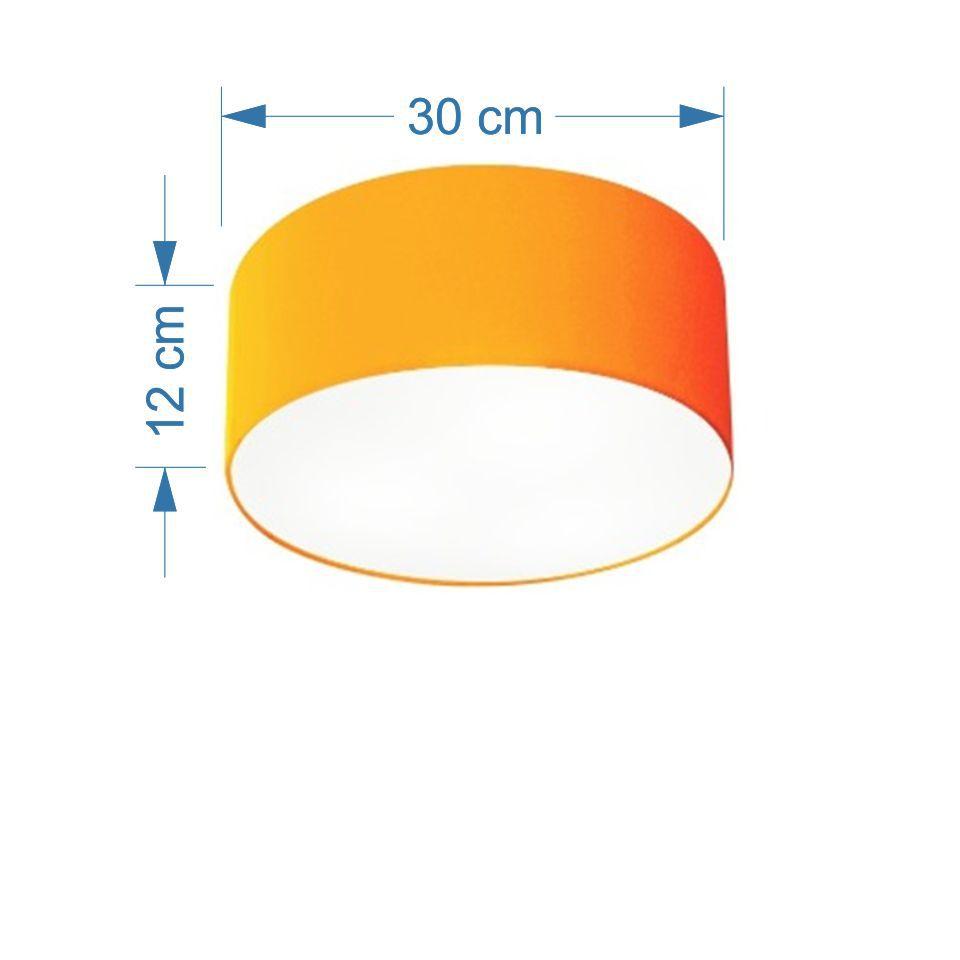 Plafon Cilíndrico Md-3010 Cúpula em Tecido 30x12cm Laranja - Bivolt
