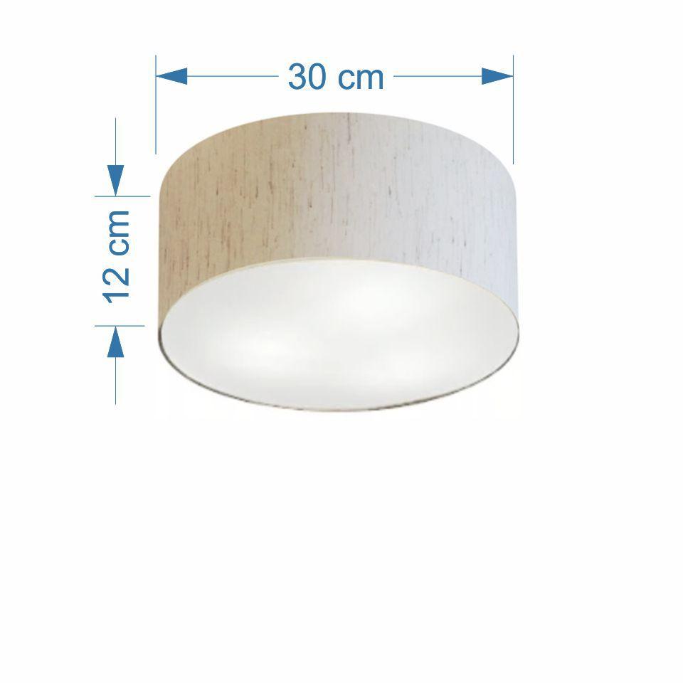Plafon Cilíndrico Md-3010 Cúpula em Tecido 30x12cm Linho Bege - Bivolt