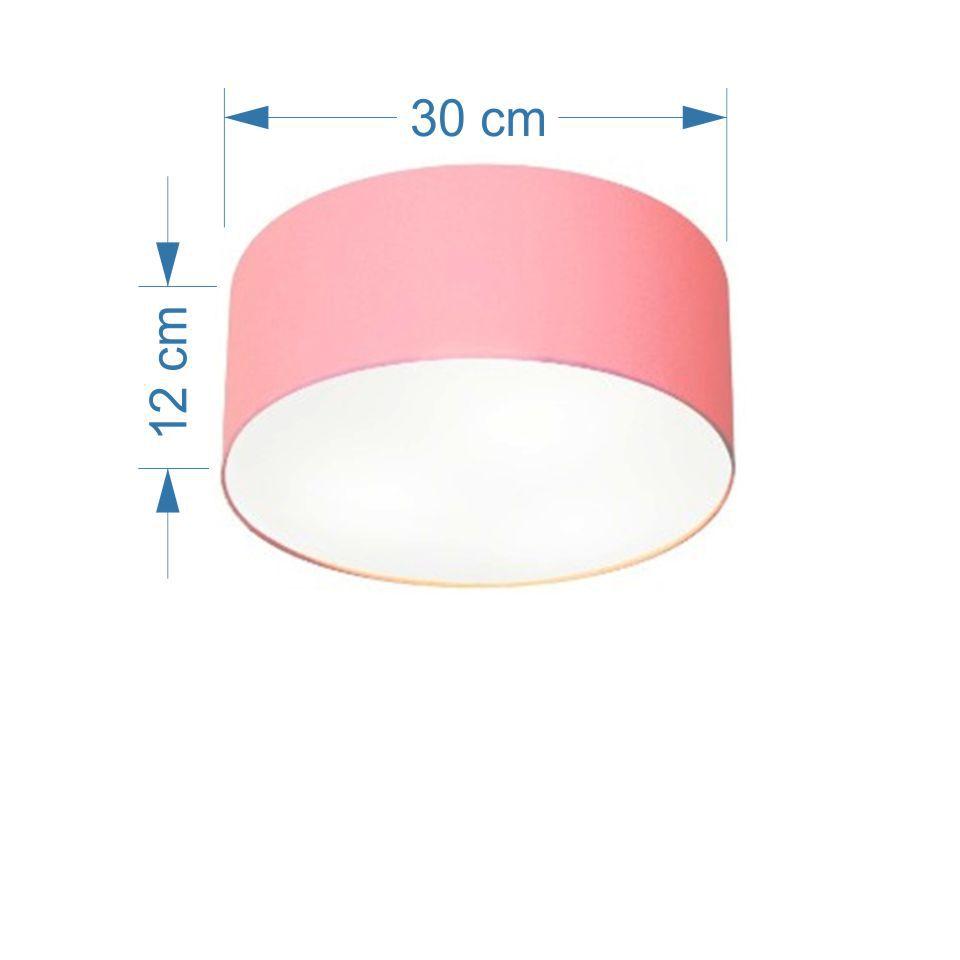 Plafon Cilíndrico Md-3010 Cúpula em Tecido 30x12cm Rosa Bebê - Bivolt