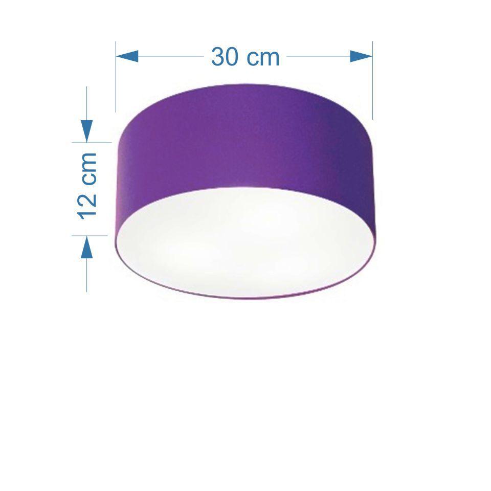 Plafon Cilíndrico Md-3010 Cúpula em Tecido 30x12cm Roxo - Bivolt