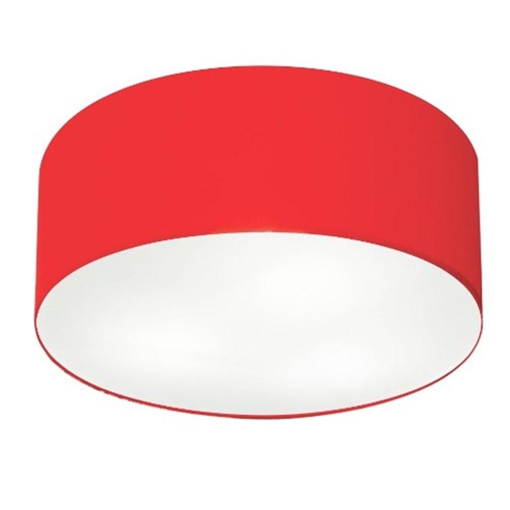 Plafon Cilíndrico Md-3013 Cúpula em Tecido 60x21cm Vermelho - Bivolt